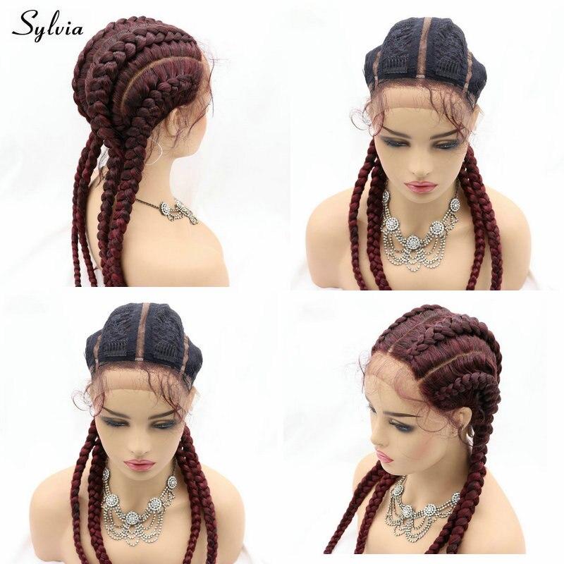 Sylvia caixa artesanal tranças peruca dianteira do laço com cabelo bebê preto longo grande trança 4 tranças peruca para preto