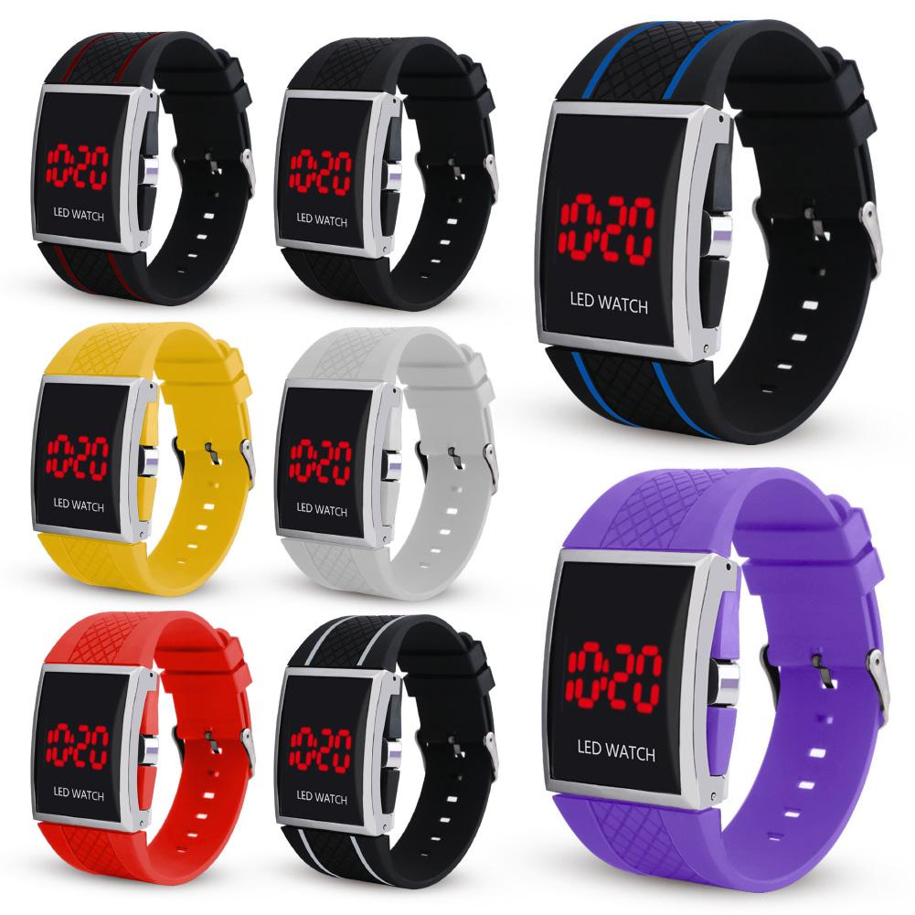 Top Brand Women Men Watches LED Student Couple Digital Watch Luminous Date Display Rectangle Dial Adjustable Multifunction Watch
