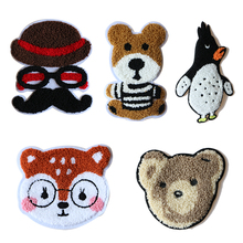 Cartoon Decorative Patch Penguin Bear Cat icon Towel Embroidered Applique Patches For DIY Iron on Badges Stickers on backpack embroidered detail backpack with bear charm 4pcs