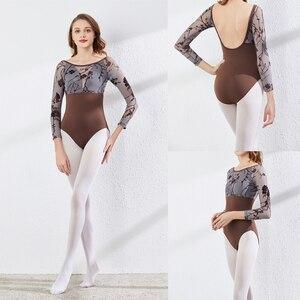 Image 1 - Long Sleeves Ballet Leotard Advanced Grey Printed Practice Ballet Dancing Costume Women Gymnastics Leotard Dance Coverall