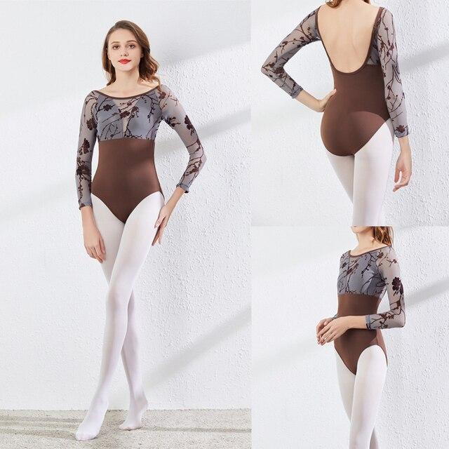 Long Sleeves Ballet Leotard Advanced Grey Printed Practice Ballet Dancing Costume Women Gymnastics Leotard Dance Coverall