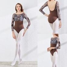 Mangas compridas ballet collant avançado cinza impresso prática ballet dança traje feminino ginástica collant dança coverall