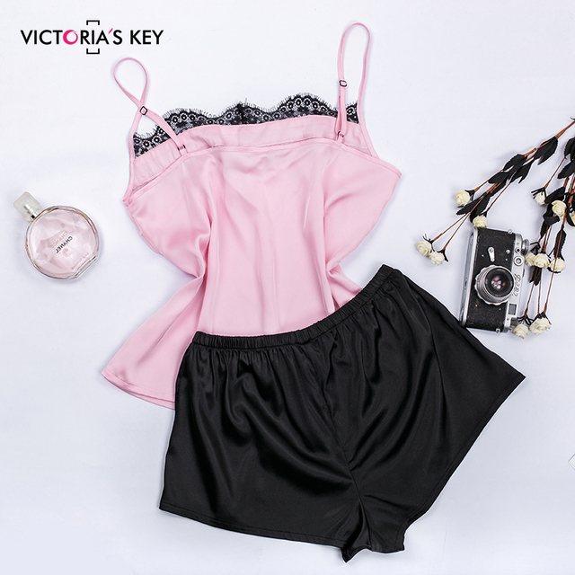 VICTORIA'S KEY Floral Lace Pink Cami Pajama Set Women Black Short Set 2019 Autumn Casual Nightwear Femme Sexy Satin Sleepwear 2