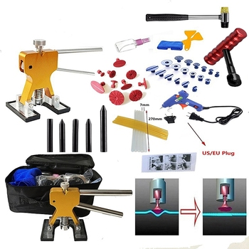 51pcs/Set Metal Painless Dent Repair Dent Lifter-Glue Puller Tab 20W Glue Machine Hail Removal Paintless Car Dent Repair Tools K