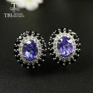 Image 2 - tbj 4ct Nautral Blue Tanzanite Clasp earring 925 sterling silver fine jewelry oval 7*9mm dianna earring for women christmas gift