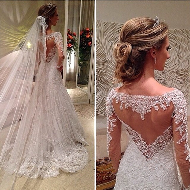 Vestido de Noiva Custom Made robe de mariee Lace Long Sleeve 2018 A Line Bridal Gown Romantic Women mother of the bride dresses