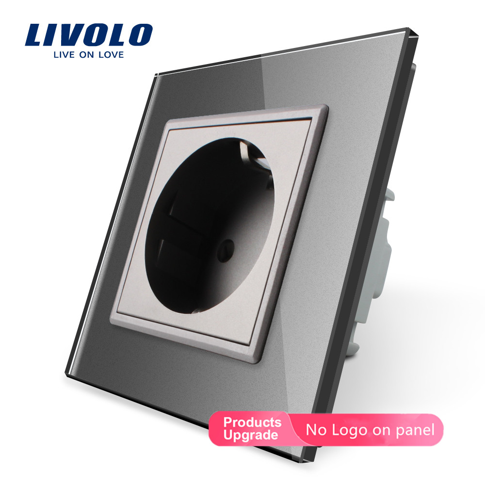 Livolo EU Standard Universal Wall Electrical European 2pins Power Socket Outlet,Crystal Glass Panel,110~250V ,plastic 16A Socket