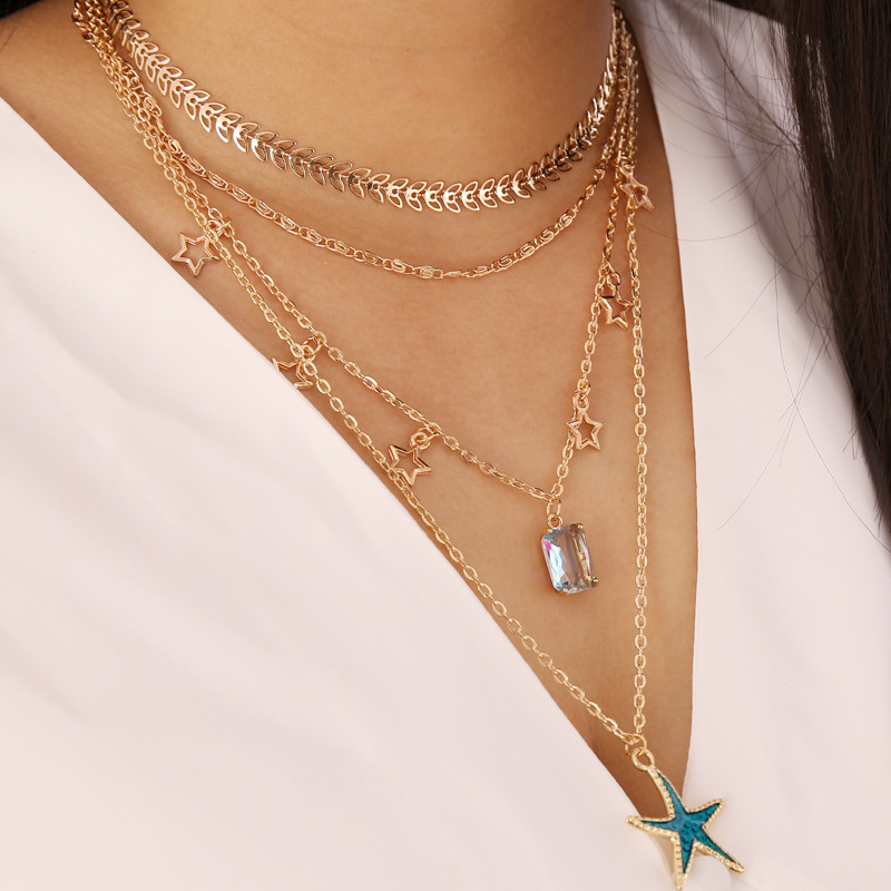 Arrow Choker Necklace Female Hollow Star Clavicle Chains Starfish Glass Pendants Layered Necklaces for Women Gold Color New