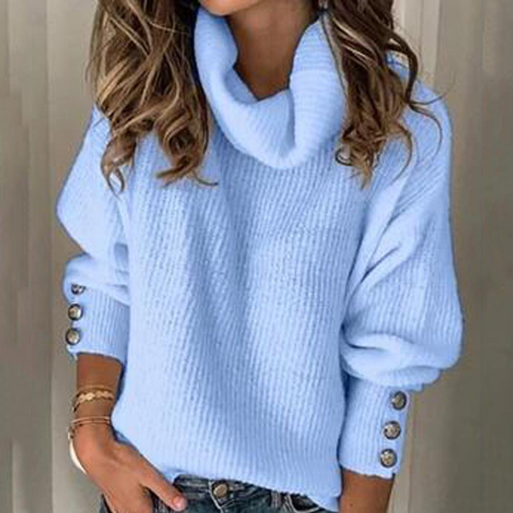 Casual Turtleneck Warm Knitted Sweater Autumn Winter Long Sleeve Pullover Tops Elegant Women Rivet Button Jumper Pull Femme 5XL(China)