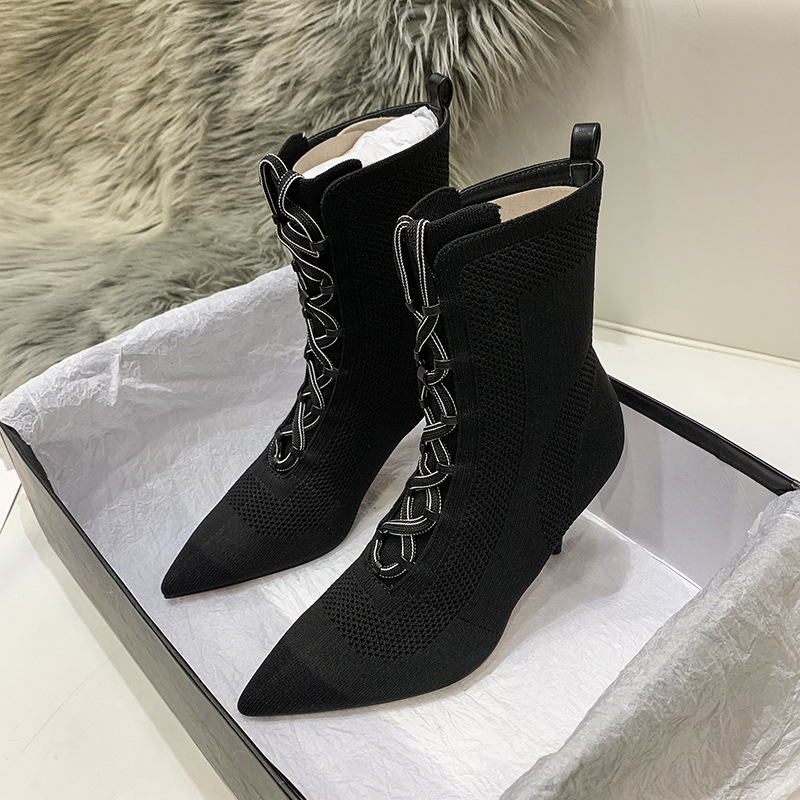womens ankle Boots Fall 2019 Mid boot Tip Knitted Elastic Boots High heeled Baitie Sexy Fine heeled Shoe women shoes