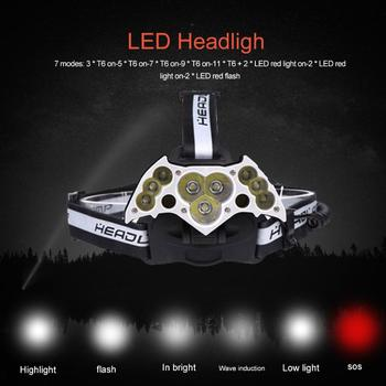 Red LED Headlight Headlamp 7 Modes USB Rechargeable Power Display Flashlight Torch for Outdoor Camping Night Fishing Hiking