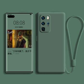 Перейти на Алиэкспресс и купить Жидкий силиконовый чехол для Huawei P40 P30 P20 Lite Pro, полная защита, чехол для камеры для Huawei Mate 20 30 Lite Pro, чехол с ремешком