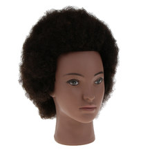 Afro Mannequin Head with Yak Hair, Hair Salon Practice Training Mannequin Doll Head For Braiding Cornrow Hairstyle(China)