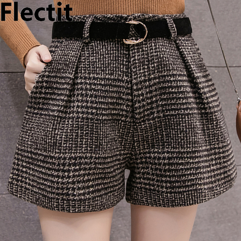 Flectit Autumn Winter Shorts Women Classic Plaid High Waist Wide Leg Shorts With Belt Wool Boots Shorts Outfits *