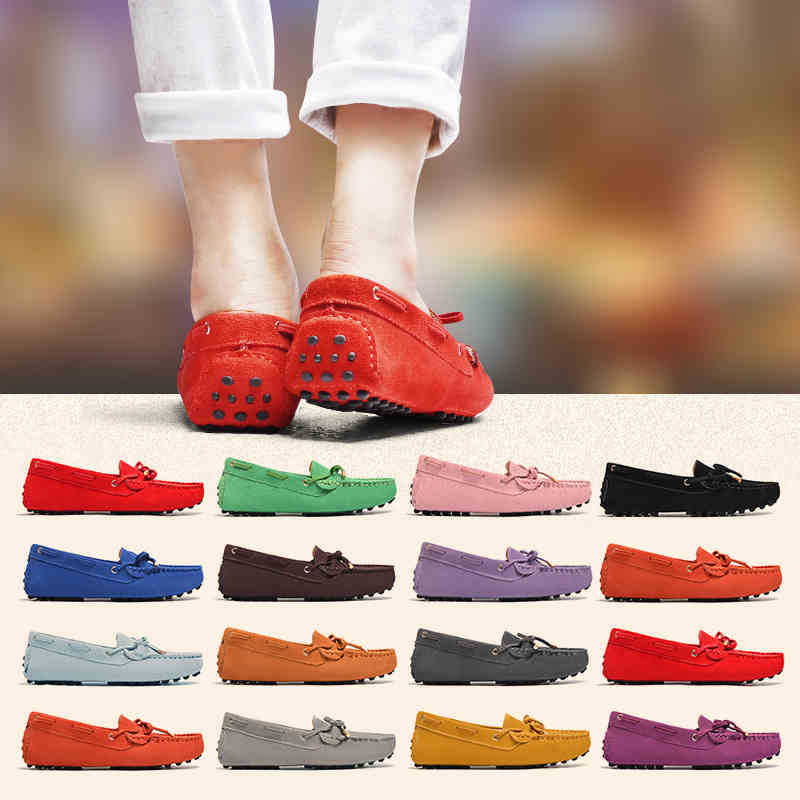 2020 Shoes Women 100% Genuine Leather Women Flat Shoes Casual Loafers Slip On Women's Flats Shoes Moccasins Lady Butterfly-knot