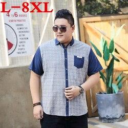 plus size 8XL Plaid Shirt Men Shirts  New Summer Fashion Chemise Homme Mens Checkered Shirts Short Sleeve Shirt Men Blouse
