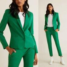 Green Women Work Pant Suits 2 Piece Ladies Slim Fit Blazer T