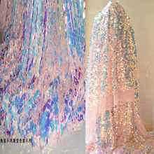 New 50*125cm Square sequins fashion fabric Reflective imports Gradient sequins Cloth lace Net yarn cloth Designer Illuminant