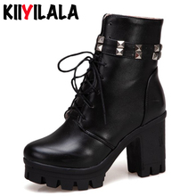 Kiiyilala Cross-tied Platform Boots Women Ankle With Rivet Square Chunky Heel Autumn Winter Warm Womens Size 34-43