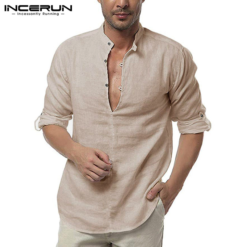 INCERUN Casual Shirt Men Long Sleeve 2020 Cotton V Neck Blouse Breathable Solid Camisa Fashion Streetwear Brand Men Shirts S-3XL