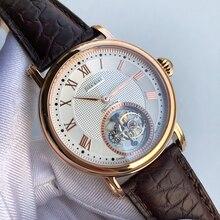 ビジネス男性トゥールビヨン機械式時計ST8000運動時計高級メンズトゥールビヨン腕時計本物のワニ革