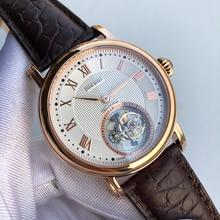 ธุรกิจผู้ชายTourbillonนาฬิกาST8000การเคลื่อนไหวนาฬิกาผู้ชายหรูหราTourbillonนาฬิกาจระเข้แท้หนัง