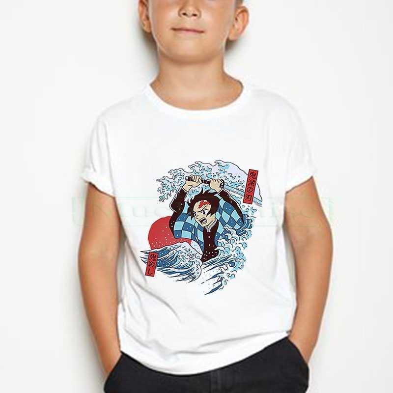 ボーイ/ガールシャツおかしい日本アニメ kimetsu なし yaiba 悪魔特効 tシャツグラフィック tシャツ tシャツストリートパンク tシャツ