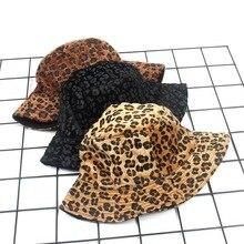Europe Leopard Print Bucket Hats Women Fashion Casual Double-sided Fisherman Outdoors Folding Flat Caps New Sun Visor