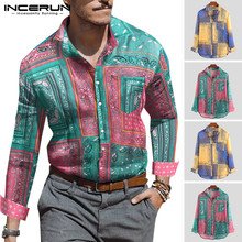 2019 Vintage Men Casual Brand Shirt Long Sleeve Printed Ethnic Style Lapel Neck Vacation Hawaiian Camisa INCERUN S-5XL