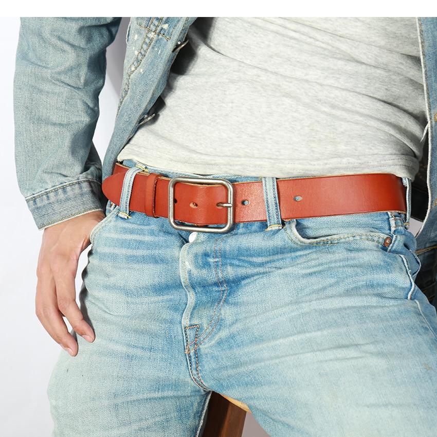 Винтажный Мужской ремень из 100% натуральной кожи, высококачественный мужской ремень из натуральной коровьей кожи, мужской ремень для джинсов или брюк Мужские ремни      АлиЭкспресс