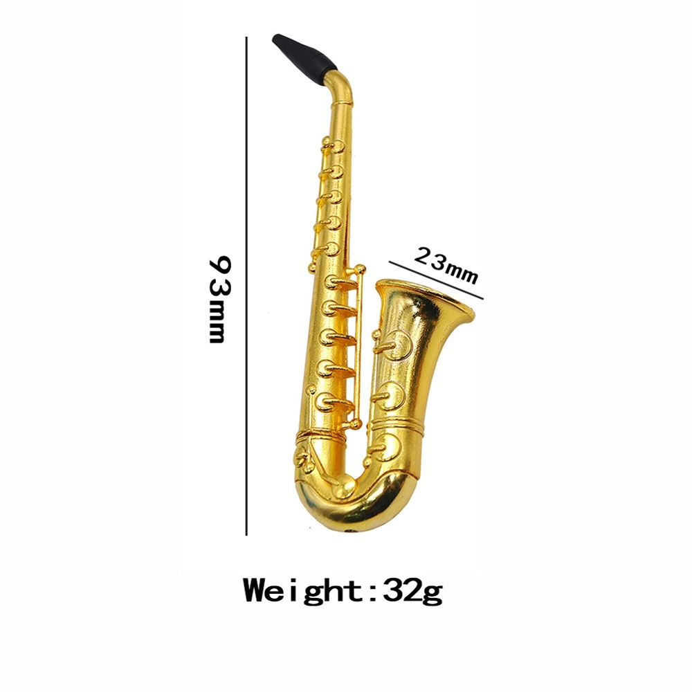 Portable Metal Saxophone Shape Pipe Smoking Pipes Tobacco Herb Filter Pipe ^