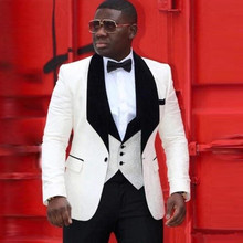 Wedding-Suit Vest Tuxedo Jacket Groomsman-Suit Lapel Black White African Mens for