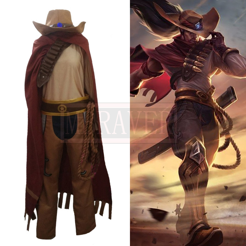 LOL Yasuo Western Cowboy Uniforms Cosplay Costume Free Shipping