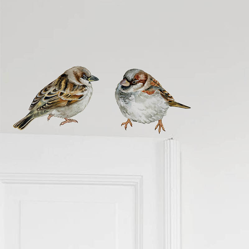 2pcs Hand Painted Birds Wall Stickers for Bedroom Fridge Tile Cabinet Animals Wall Decor Vinyl PVC Wall Decals for Home Decor