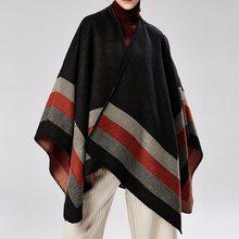 Bohoartist Fall Autumn Womens Fashion Stripe Scarves Imitation Cashmere Female Boho Cape Tops