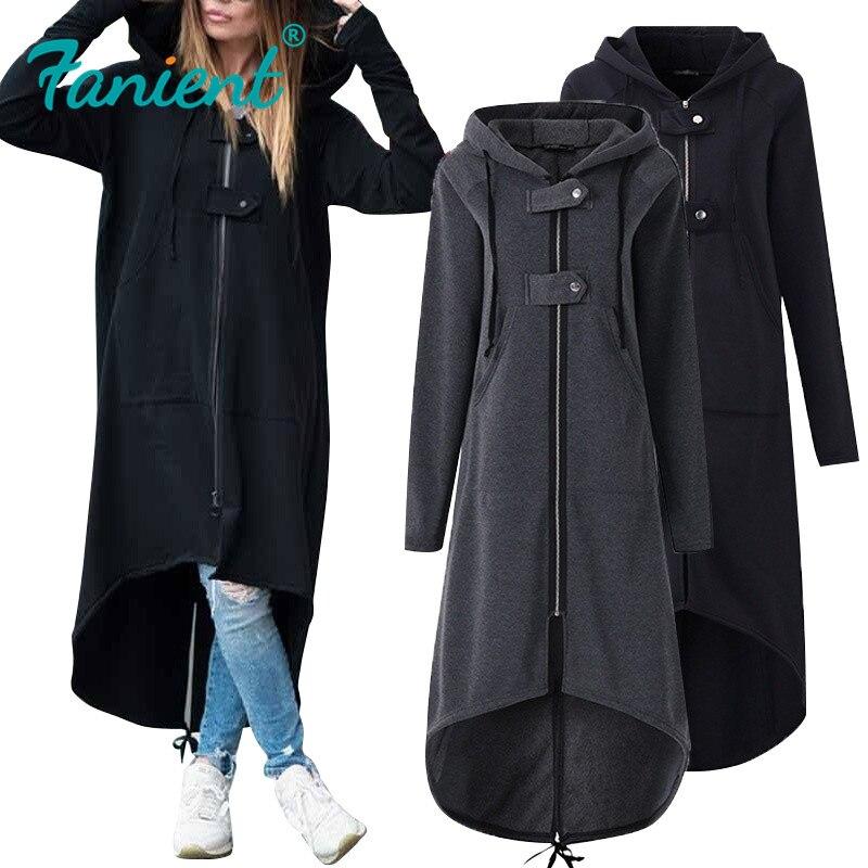 Autumn Winter Long Sweatshirt Coat Women Fashion Casual Zipper Open Stitch Pockets Hooded Jacket Hoodies Outerwear Plus Size