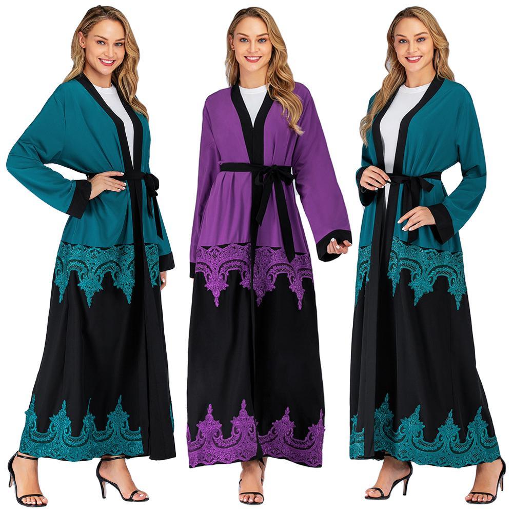 Caftan Jilbab Abaya femmes musulman ouvert avant Cardigan Maxi Robe Dubai Kimono dentelle Patchwork lâche 2019 automne Robe Robe S-2XL