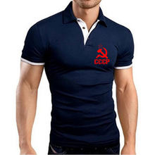 Summer New Mens Business Golf Polo Shirt Short Sleeve Turn-over Collar Slim Tee Tops Casual Breathable CCCP Russian Polo T-Shirt