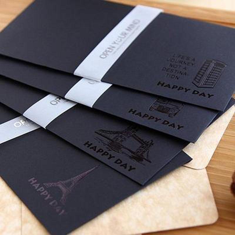 20 Pcs/lot Vintage Black Craft Paper Envelopes Mini Paper Envelope For Post Card Scrapbooking Letter Gift Stationery