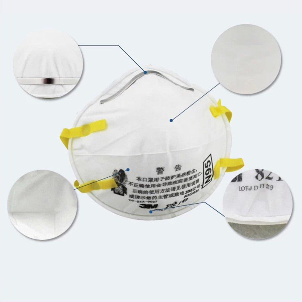 3M 8210 N95 Mask for Protection from Dust Particles and Flu with Adjustable Metal Nose Clip 3