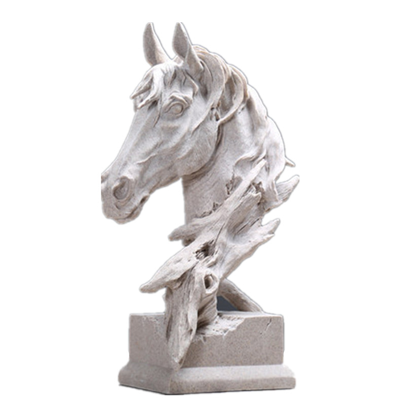 Creative Decoration Horse Head Sculpture Animal Shape Living Room Bookcase TV Stand Sandstone Crafts Para Casa Decor L3324