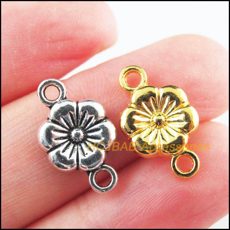 40Pcs Retro Tibetan Silver Tone Gold Color Flower Star Charms Connectors 10x18mm