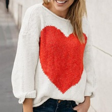 2019 Autumn Sweater Jumper Fashion Women Girls Reversible Hollow Out Knitted Pullovers Heart Pattern
