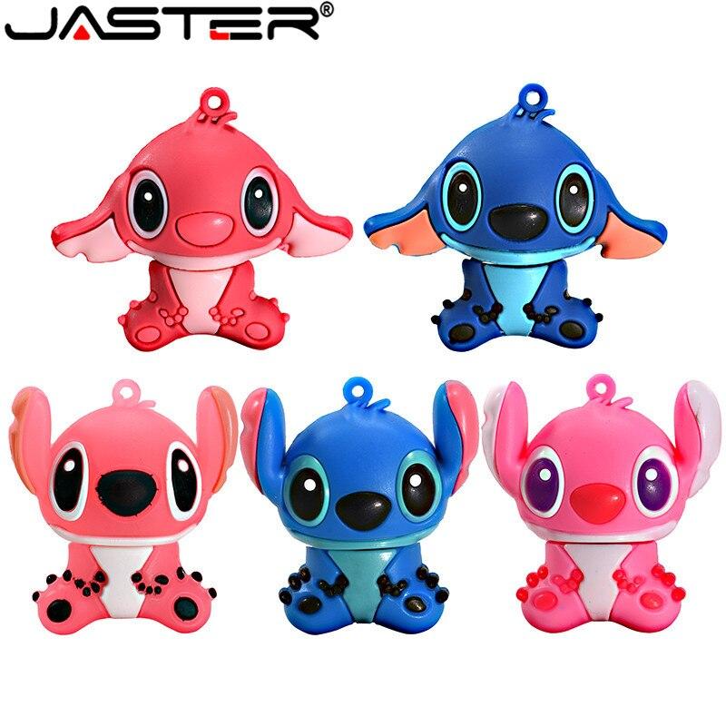 JASTER Cartoon Blue Pink Model Stitch Usb Flash Drive Usb 2.0 4GB 8GB 16GB 32GB 64GB Pendrive Cute Mini Stitch Pen Drive