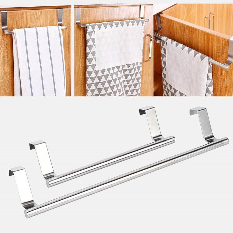Home Kitchen Hanging Accessories Stainless Steel Wall-Mounted Towel Racks Pole Bathroom Towel Holder Household U3