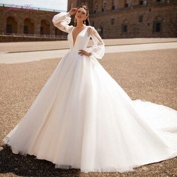 Julia Kui Gorgeous  Puff Sleeve A Line Wedding Dress With Puffy Skirt Satin Chapel Bridal Dress