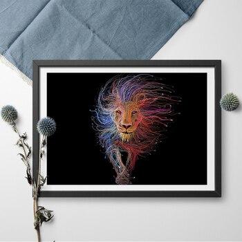 Póster abstracto colorido del Rey León y pintura de lienzo impreso arte de pared decoración del hogar pinturas de pared modernas sin marco