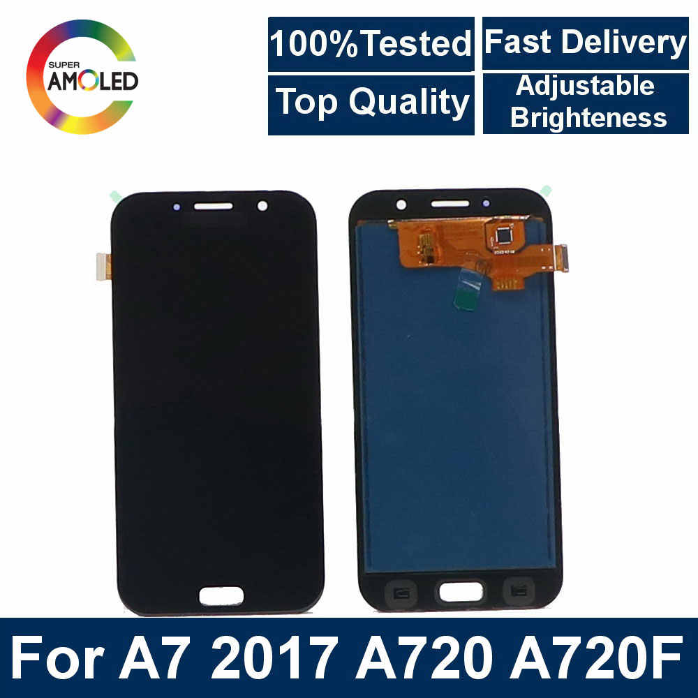 Super AMOLED LCD A7 Für Samsung Galaxy A7 2017 A720 A720F handy LCD Display Touch Screen + helligkeit control