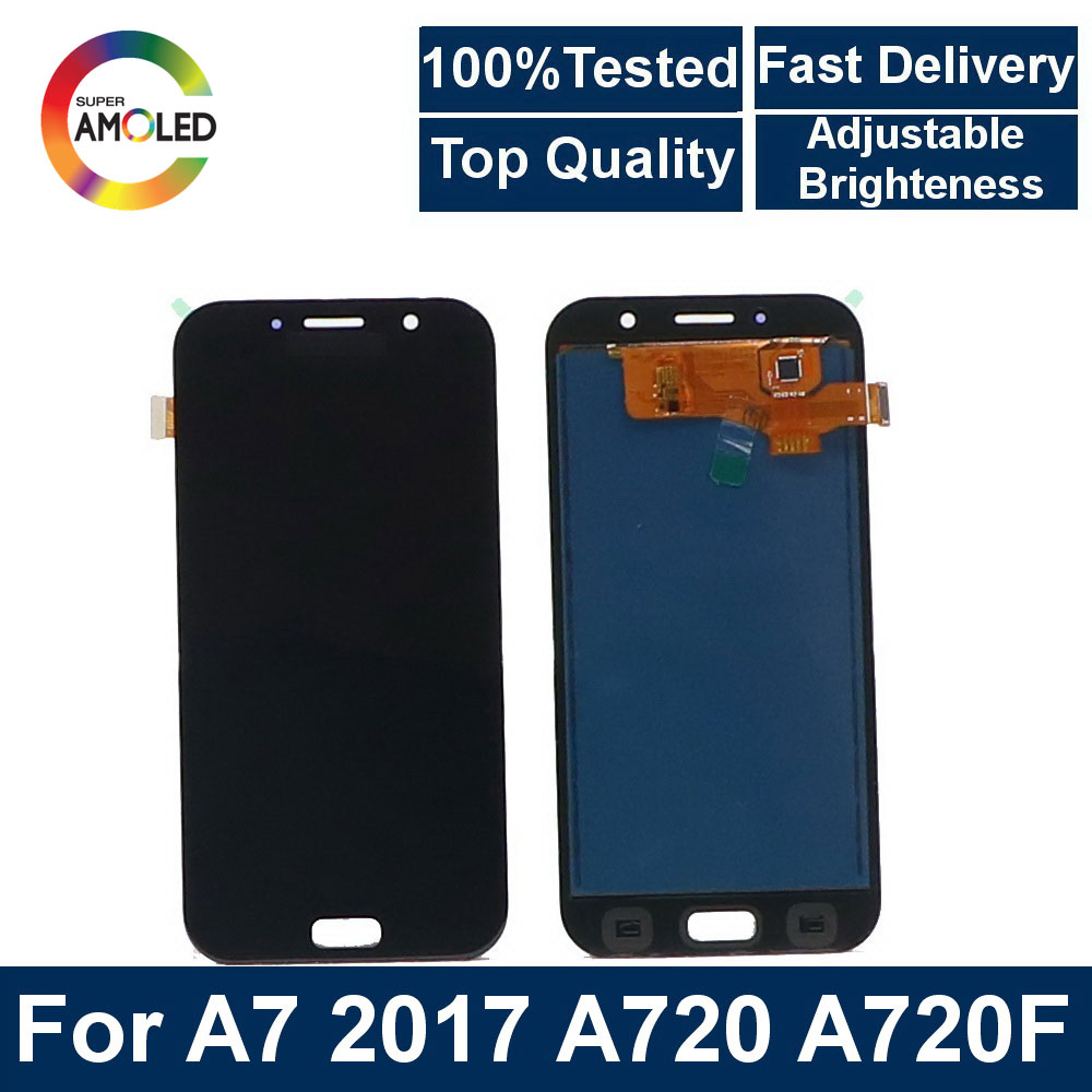 Super AMOLED LCD A7 For <font><b>Samsung</b></font> Galaxy A7 2017 A720 <font><b>A720F</b></font> mobile phone LCD Display Touch <font><b>Screen</b></font> Assembly+ brightness control image