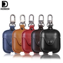 10pcs Protective PU Leather Case for Bluetooth headset Apple AirPods cases artificial leather hook cover covers